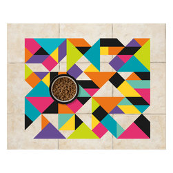 Sniff It Out Designer Pet Mats - Vinyl Triangle Pet Food Mat - Premium-quality clear vinyl mats uniquely designed to resemble beautiful art painted directly onto your floor. The smoothness of the vinyl allows for easy cleanup and lays perfectly flat. Sniff It Out Pet Mats make great gifts and will be a conversation piece that your friends and family won't stop talking about. Made in the USA.