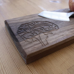 DMWR - Brain Cutting Board - It doesn't take a brain surgeon to appreciate this fun, carved brain cutting board. Made from solid walnut, this cutting board by Dave Marcoullier is a great way to show off your culinary intelligence.