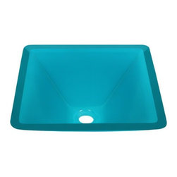 PolarisSinks - Polaris p306 turquoise Square Glass Vessel Sink - Our glass sinks come in a large variety of colors and styles to fit any decor. Our line of glass sinks will add elegant beauty to your bathroom. the glass sinks are manufactured using fully tempered glass. tempered glass is stronger and can withstand higher temperatures than normal glass. the quality of the glass makes maintenance very easy. the glass is non porous and will not absorb odor or stains making it a very sanitary option in bathroom sinks. Our glass sinks are covered by a limited lifetime warranty. Each sink comes with a cardboard cutout template and mounting hardware.