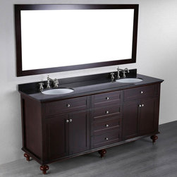 Bosconi - 73'' SB-261 Contemporary Double Vanity - Dark Espresso - The Bosconi Double Vanity is a unique Dark Espresso finish vanity with ample storage space offering four drawers and two large size cabinets that cater to the needs of a couple that requires to utilize large amounts of space. It boasts a single wide vanity mirror mounted horizontally enhancing the contemporary look while retaining the basic reflective function. The Black Granite top guarantees durability and a perfect overall match within the bathroom.
