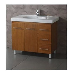 Legion Furniture - 39 in. Single Sink Vanity w Ceramic Top - Faucet not included. Measurement tolerance:(+/- 0.25 in.). Pre drilled with one hole for one slot faucet. Made from oak wood in natural honey oak finish with modern chrome accents. White ceramic sink. Medium maple finish. Assembly required. 26 in. W x 22 in. D x 34 in. HA Modern bathroom exclusive is the name of this bathroom vanity. It embraces the latest thinking in modern bathroom design. The beautiful oversized white ceramic sink and counter top, give the vanity a stunning, modern look with fictional details, allowing the overall design and beauty to make an incredible statement in your bathroom.