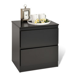 None - Escala Black Two-drawer Night Stand - Give your bedroom a sleek,contemporary feel with this black wood night stand from Escala. With an elegant,two-drawer design and a spacious top for decorative items,this nightstand will add a touch of sophistication to your bedroom decor.