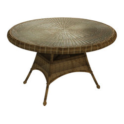 """Forever Patio - Rockport 48 in. Round Patio Dining Table, Brown Wicker - The Rockport 48"""" Round Dining Table (SKU FP-ROC-48DT-CN) will add beauty and charm to any outdoor dining experience. Its UV-protected Chestnut wicker and round-weave design creates a warm, traditional look that is made to last. The top of the table has an umbrella hole for the option to add your own shade to your dining experience. This table also includes a tempered glass top, providing a beautiful and durable surface that is easy to maintain."""