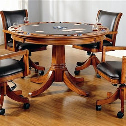 Hillsdale - Park View 2-in-1 Poker Dining Table 5 Pc Set - Set includes 1 Table and 4 Game Chairs. Composed of solid woods, climate controlled wood composites, and veneers. Incised in a medium brown oak with deep brown leather seat cushions, this set combines comfort with casual living and functionality. With a classic pedestal base and a clean rectangle chair back chair with arms, this multi function table offers a dining surface on one side, a leather topped game surface on the other, as well as storage and checker and backgammon game surfaces underneath the top. Medium Brown Oak color. This ensemble can find a home in your game room, den, or kitchen. Complete your game room décor with the matching bistro table and barstools. Table: 52 in. Dia. x 31 in. H. Caster Game Chair: 25 in. W x 24.5 in. D x 36-38.5 in. H Add traditional charm to your game room with Hillsdale Furniture's Parkview Game table and chairs.