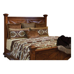 El Paso Coverlet Set, Ultra King - A southwestern patterned Chenille, is blended in rustic colors of Copper, Bronze, Charcoal and Sand. This masculine look is enhanced by a faux Suede Leather and smaller geometric patterns.