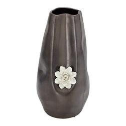 Benzara - Classic Style Floral Patterned Ceramic Vase Home Decor - Description: