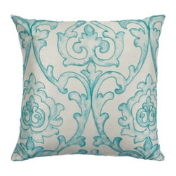 "Z Gallerie - St Lucia Pillow 24"" - Enliven your home with hues of Venetian blue and soft cream with our St. Lucia Pillow.  Hand embroidered with a cord outlining the traditional printed motif reminiscent of a hand blocked print found at ancient marketplaces.  This pillow is filled with a sumptuous feather and down insert for the ultimate in comfort."