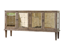 Hooker Furniture - DeVera Mirrored Console - You can't restrain this dazzling console. Weathered to an authentic vintage look from hardwood solids, it's finely tuned by antique mirror inlay with decorative metal bead accents and teardrop pulls. This metallic symphony can store a multitude of treasures, keeping your home in harmony.