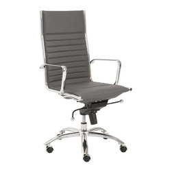 """Eurostyle - Eurostyle Dirk High Back Leatherette Swivel Office Chair in Gray - Leatherette Swivel Office Chair in Gray belongs to Dirk High Back Collection by Eurostyle Leatherette over foam seat and back. BIFMA approved chromed steel base. Chromed aluminum armrests. Tilt, swivel and gas lift. PU casters with stainless steel hood. Flat bungee band seat construction inside seat. Seat height 18"""" ��_��_��_ 21"""". More colors. Office Chair (1)"""