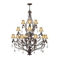 Hinkley Lighting - Tuscan Eighteen Light Up Lighting Three Tier Chandelier - Bulb Type:16. Bulb Base:Candelabra (E12). Bulb Wattage:40. Bulb Count:18. Bulbs Not Included