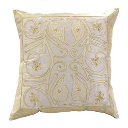 """Banarsi Designs - Ornamental Embroidered Pillow Cover, Set of 2, Beige - The """"Ornamental Embroidered Pillow Cover"""" represents artistic qualities through a very detailed and imaginative Indian embroidered and hand-stitched process known as Cut Dana."""