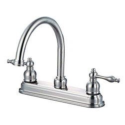 Hardware House - Plumbing - 12-2757 Satin Nickel Kitchen Faucet - Bismark Two-Handle Kitchen Faucet with Spray