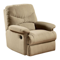 "Acme - Arcadia Beige Microfiber Fabric Standard Motion Recliner Chair - Arcadia beige microfiber fabric standard motion recliner chair with overstuffed seats and arms. This recliner features a microfiber fabric upholstery with a release latch on the side of the recliner, this is a manual recliner you need to push the footrest back to lock it in. Recliner measures 38"" x 35"" x 40"" H. Some assembly may be required."