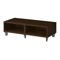 IKEA of Sweden - BESTÅ Bench with casters - Bench with casters, walnut effect