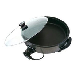"Ragalta - Electric Skillet/Fryer 12"" Black - 12"" Electric Skillet /Fryer. Fry, saute, roast, stew, bake, cook and simmer with this amazing aluminum electric skillet with non-stick coating, carbon steel. This electric skillet is perfect to use in the dorm, home, hotel, and RV. Heat Tempered glass cover. Power: 1500W, 110V, 60Hz. UL Plug. ETL approval. Dishwasher safe components for easy cleanup."