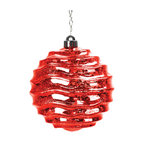 """Exhart - Solar Red Medium Wave Hanging Orb - Medium Solar Hanging Wave orb. Hangs 32"""" tall. Is a great piece to decorate any yard or garden. Made in China"""