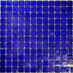 "Glass Tile Oasis - Dark Blue 1"" x 1"" Blue 1"" x 1"" Iridescent Glossy & Iridescent Glass - Sheet size:  12"" x 12""        Tile Size:  1"" x 1""        Tiles per sheet:  144        Tile thickness:  1/8""        Grout Joints:  1/8""        Sheet Mount:  Plastic Face     Sold by the sheet    -"