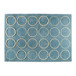 Mat The Basics - Bilbao Turquoise Rug - The hi-pile circular patterns on this rug creates a subtle multi-level surface. It's very soft to the touch.