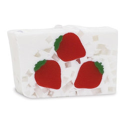 Primal Elements - Strawberry 6.0 oz Bar Soap in Shrinkwrap - Fresh, juicy strawberries plucked straight from the field. The colors and shapes coordinate with unique scents for a beautifully fragrant presentation; all soaps contain vegetable glycerin, which moisturizes the skin with a luxurious lather that rinses cleanly away. We use pure essential oils and popular fragrance oils for optimum fragrance.