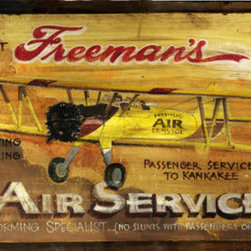 Red Horse Signs - Freeman's Air Service Vintage Aviation Sign - Vintage  Aviation  Signs  -  Freeman's  Air  Service  Biplane  Rustic  Sign    Custom  vintage-look  aviation  sign.  Put  your  name  on  this  vintage  Freeman's  sign  and  celebrate  your  love  of  the  skies!  Great  for  any  aviation  enthusiast,  this  customizable  sign  is  available  in  2  sizes:  14x24  and  20x32.  Printed  directly  to  distressed  wood  with  all  the  knots  and  imperfections  of  real  weathered  wood.  Please  specify  name  to  replace  Freeman's  on  order.  The  sign's  text  reads,  Freeman's  Air  Service.  Mail  freight,  Experienced  pilot  and  master  aviator,  Loop  King,  Billy  Brooks  Crop  Dusting,  Sight  Seeing,  Lessons.  Passenger  Service  to  Kankakee.  Barnstorming  Specialist  (No  Stunts  with  passengers  on  board.  Please  allow  up  to  three  weeks  for  delivery  of  vintage  aviation  signs.    Product  Specifications:        Vintage  Appeal    Available  in  2  sizes:  14x24  and  20x32    Printed  directly  to  distressed  wood    Customize  for  truly  unique  sign