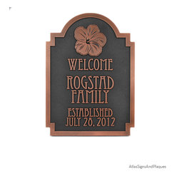 """Hawaiian Hibiscus Historic Plaque 10"""" x 14"""" in Copper Patina - he maʻo hau hele, is Hawaii's State Flower, and one of the memories we all bring home after visiting the islands. The Hawaiian Hibiscus Historic Plaque brings the beautiful flower to your home, garden, or Historic site. And, what a great Wedding Plaque for the Hawaiian marriage. The Hibiscus Plaque just seems to have the right shape, style, and elegance to give it the look of balance and grace that fits many applications. Eccentric font is used in the making of this plaque."""