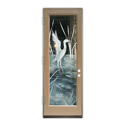 Sans Soucie Art Glass (door frame material Plastpro) - Glass Front Entry Door Sans Soucie Art Glass Crane II 2D - Sans Soucie Art Glass Front Door with Sandblast Etched Glass Design. Get the privacy you need without blocking light, thru beautiful works of etched glass art by Sans Soucie!This glass is semi-private. Door material will be unfinished, ready for paint or stain.Bronze Sill, Sweep and Hinges. Available in other finishes, sizes, swing directions and door materials.Dual Pane Tempered Safety Glass.Cleaning is the same as regular clear glass. Use glass cleaner and a soft cloth.