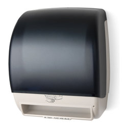"Palmer Fixture - Electra - Automatic Touchfree Roll Towel Dispenser, Translucent - The Electra Automatic Touchfree Roll Towel Dispenser with the Translucent Dark cover and beige back is created for maximum flexibility and cost reduction. This universal dispenser is automatic, hygienic, and enables hands-free operation. Dispenser holds any universal 8"" x 8"" roll towel and 2 3/4"" stub roll with a 1 1/2"" to 2"" core. Paper is fully protected until user is ready- preventing cross-contamination--no paper hangs out. There is an easy to load auto-transfer system that prevents stub roll waste. It operates on 4 D-sized alkaline batteries with the longest battery life in the industry-up to 72,000 cycles. There is a low battery indicator light and the translucent cover allows for a view of the paper supply. Unit features adjustable settings for optimal paper usage control. The Select Paper Savings mode allows adjustment of second sheet length making it shorter by 25%, 0%, 12% than the initial dispense when the second dispense is within 3 seconds of the initial dispense. The Set Time Delay mode can be set for 3 seconds, 2 seconds, or 1 second. The Sheet Length mode can be set for 15"", 12"", 9"" of paper.; Dimensions: 11 1/4"" L x 9 1/4"" W x 15"" H; Includes 1 key, type 1"
