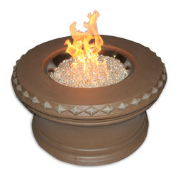 """Aztec 36 """" Fire Pit with Crystal Fire - With its pebbled bottom and smooth finish, the Aztech 36"""" Fire Pit with Crystal Fire would be a dazzling addition to a modern backyard or patio area. -Mantels Direct"""