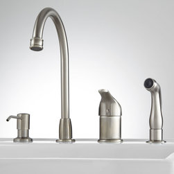 Solo Widespread Kitchen Faucet with Side Spray and Soap Dispenser - The Solo Widespread Faucet will add contemporary function and style to your kitchen sink. A convenient soap pump and pull out sprayer make food preparation and cleanup a breeze. This faucet is made of lead free solid brass and features a Chrome finish, ensuring years of beauty and usage.