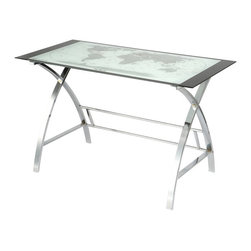 Powell Furniture - Powell Furniture World Map Printing Curved X-Sided Computer Desk - Powell Furniture - Computer Desks - 942240 - The World Map Computer Desk is the perfect addition to any office or work area. Crafted from strong chrome plated metal and durable glass, the top features a beautiful map design while the sides feature a unique X pattern. Providing ample work space and design features like no other, this piece is sure to become a conversation starter. Some assembly required.