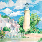 The Tile Mural Store (USA) - Tile Mural - Key West Lighthouse - Kitchen Backsplash Ideas - This beautiful artwork by Paul Brent has been digitally reproduced for tiles and depicts the Key West Lighthouse.  Our lighthouse tile murals and nautical themed decorative tiles are perfect as part of your kitchen backsplash tile project or your tub and shower surround bathroom tile project. Lighthouse images on tiles add a unique element to your tiling project and are a great kitchen backsplash idea. Use a lighthouse scene tile mural for a wall tile project in any room in your home where you want to add interest to a plain field of wall tile.