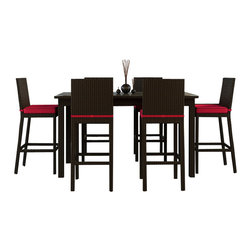 Forever Patio - Barbados 7 Piece Modern Patio Bar Set, Flagship Ruby Cushions - The modern design and ample seating of the Forever Patio Barbados 7 Piece Rattan Patio Bar Set with Red Sunbrella cushions (SKU FP-BAR-7BAR-EB-FB) make it the perfect addition to any patio area. The set seats 6 adults comfortably, and features Ebony resin wicker with a flat-woven design. Each strand of this wicker is made from High-Density Polyethylene (HDPE) and is infused with its rich color and UV-inhibitors that prevent cracking, chipping and fading ordinarily caused by sunlight, surpassing the quality of natural rattan. The outdoor bar set is supported by thick-gauged, powder-coated aluminum frames that make it extremely durable and resistant to corrosion. Also included are cushions covered in fade- and mildew-resistant Sunbrella fabric. These plush, overstuffed cushions will make this wicker outdoor bar set your new favorite spot to unwind.