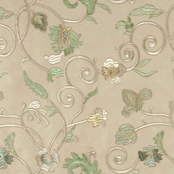 Beige Green Ivory And Gold Embroidered Vines Suede Upholstery Fabric By The Yard - P0121 is a heavy duty upholstery grade suede polyester fabric. This fabric is great for all indoor applications.