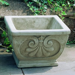 Campania International Square Fleur Cast Stone Planter - About Campania InternationalEstablished in 1984, Campania International's reputation has been built on quality original products and service. Originally selling terra cotta planters, Campania soon began to research and develop the design and manufacture of cast stone garden planters and ornaments. Campania is also an importer and wholesaler of garden products, including polyethylene, terra cotta, glazed pottery, cast iron, and fiberglass planters as well as classic garden structures, fountains, and cast resin statuary.Campania Cast Stone: The ProcessThe creation of Campania's cast stone pieces begins and ends by hand. From the creation of an original design, making of a mold, pouring the cast stone, application of the patina to the final packing of an order, the process is both technical and artistic. As many as 30 pairs of hands are involved in the creation of each Campania piece in a labor intensive 15 step process.The process begins either with the creation of an original copyrighted design by Campania's artisans or an antique original. Antique originals will often require some restoration work, which is also done in-house by expert craftsmen. Campania's mold making department will then begin a multi-step process to create a production mold which will properly replicate the detail and texture of the original piece. Depending on its size and complexity, a mold can take as long as three months to complete. Campania creates in excess of 700 molds per year.After a mold is completed, it is moved to the production area where a team individually hand pours the liquid cast stone mixture into the mold and employs special techniques to remove air bubbles. Campania carefully monitors the PSI of every piece. PSI (pounds per square inch) measures the strength of every piece to ensure durability. The PSI of Campania pieces is currently engineered at approximately 7500 for optimum strength. Each piece is air-dried and then de-molded by hand. After an internal quality check, pieces are sent to a finishing department where seams are ground and any air holes caused by the pouring process are filled and smoothed. Pieces are then placed on a pallet for stocking in the warehouse.All Campania pieces are produced and stocked in natural cast stone. When a customer's order is placed, pieces are pulled and unless a piece is requested in natural cast stone, it is finished in a unique patinas. All patinas are applied by hand in a multi-step process; some patinas require three separate color applications. A finisher's skill in applying the patina and wiping away any excess to highlight detail requires not only technical skill, but also true artistic sensibility. Every Campania piece becomes a unique and original work of garden art as a result.After the patina is dry, the piece is then quality inspected. All pieces of a customer's order are batched and checked for completeness. A two-person packing team will then pack the order by hand into gaylord boxes on pallets. The packing material used is excelsior, a natural wood product that has no chemical additives and may be recycled as display material, repacking customer orders, mulch,or even bedding for animals. This exhaustive process ensures that Campania will remain a popular and beloved choice when it comes to garden decor.Please note this product does not ship to Pennsylvania.
