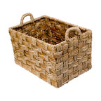 Kouboo - Rectangular Braided Sea Grass Basket, Large - The large size of this sturdy storage basket makes it perfect for housing bulky objects. Braided strands of sea grass are hand woven in an alternating pattern giving it more refined look.1 year limited warranty.