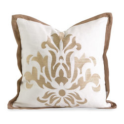 iMax - iMax IK Kassa Embroidered Pillow w/ Down Fill X-87124 - Iffat Khan has developed a luxurious collection of down pillows with embroidered details and top of the line fabrics. Iffat's refined aesthetic is evident in her collection which combines clean modern, classic casual and timeless traditional styles with her own creative twist.