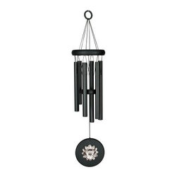 Woodstock Habitats Flower Wind Chime - Black - Tuned to an inspiring yet soothing pentatonic scale, the Woodstock Habitats Flower Wind Chime - Black is a finely-tuned musical instrument that the wind can play for your enjoyment. Celebrate the fecundity and glory of summertime all through the year with the wind catcher's bright silver sunflower, a variety loved for its glorious height, color, and prodigious production of seeds. Black finish won't scare away birds, which is important if you're trying to create a bird haven in your backyard. Woodstock's Habitats series of chimes is designed to celebrate the wonders of nature, the interconnectedness of all species, and the profuse variety of living things found in all of the habitats throughout our world. Wind Chime Length: The length of a wind chime is measured by the overall length of the chime (not tube length) - hanging hook to the end of the sail. This windchime is 17 inches long overall. About Woodstock ChimesCreated by professional musician Garry Kvistad, Woodstock Chimes feature original and innovative designs that will add beauty and elegance to your home. Each chime has been tuned to create the purest, most beautiful musical intervals. Kvistad incorporates tunings of scales from many different cultures throughout the world to create unique, inspiring sounds and styles. It's easy to find the chime that's right for you at Woodstock, home of the original precision-tuned wind chime.
