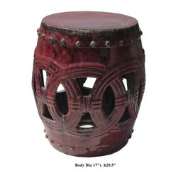 Dark Red Ceramic Clay Join Coin Round Stool Ottoman - Besides being a garden stool, this kind of stool is getting popular for decorating indoor home. It is mostly use as a table base/ small coffee table, plant stand or simply as a decor item. ( please understand there is a variation in the finish for the hand glazed item ) ( touch up marks from manufactory , please see photos for details )