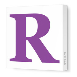"""Avalisa - Letter - Upper Case 'R' Stretched Wall Art, 12"""" x 12"""", Purple - Spell it out loud. These uppercase letters on stretched canvas would look wonderful in a nursery touting your little one's name, but don't stop there; they could work most anywhere in the home you'd like to add some playful text to the walls. Mix and match colors for a truly fun feel or stick to one color for a more uniform look."""