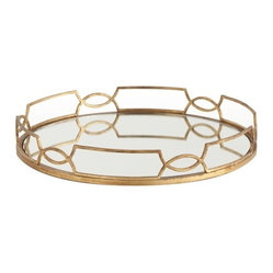 Arteriors - Cinchwaist Tray, Gold Leaf By Arteriors - This round mirrored tray framed in delicate metalwork would make an elegant display for drinks on the bar or perfume bottles in the bedroom. The geometric border design of interlocking curves gives it a regal, art deco vibe.