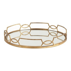 Arteriors - Cinchwaist Tray, Gold Leaf - This round mirrored tray framed in delicate metalwork would make an elegant display for drinks on the bar or perfume bottles in the bedroom. The geometric border design of interlocking curves gives it a regal, art deco vibe.