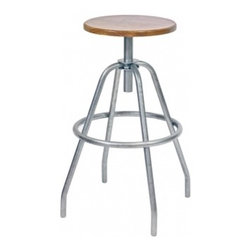 Industrial Factory Stool - Pull up a seat from the magnificent Machine Age when American steel production went into high gear and furniture took on a sleek, efficient look. Industrial Work Stools were often found in factories, but their timeless design is perfect for your home or office. Manufactured exclusively for Barn Light Electric by MAKR, these sturdy vintage stools, crafted entirely from stainless steel, complement many home styles from country to urban. Choose a classic black or galvanized finish for a rustic look or the bold red for a more retro feel. Also available in a backed design.