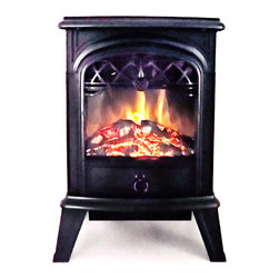 Proman Products - Proman Products Aspen 15 Inch Electric Wood Fireplace - Free Standing in Black - Aspen collection electric wood burning stove s1523 with log fire effect, free standing, 750/1500W, 15W x 23H x 11D, black color, 21 lbs