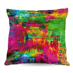 DiaNoche Designs - Pillow Linen by Julia Di Sano - Washed Rainbow - Add a little texture and style to your decor with our Woven Linen throw pillows. The material has a smooth boxy weave and each pillow is machine loomed, then printed and sewn in the USA.  100% smooth poly with cushy supportive pillow insert with a hidden zip closure. Dye Sublimation printing adheres the ink to the material for long life and durability. Double Sided Print, machine wash upon arrival for maximum softness. Product may vary slightly from image.