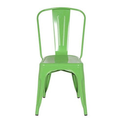 Fine Mod Imports - Stackable Talix Chair in Green - Contemporary style. Curved back. Outdoor powder coating protection. Can be used for indoor or outdoor. Warranty: 1 year. Made from galvanized steel. No assembly required. 18 in. W x 18 in. D x 34 in. H (12 lbs.)More than three quarters of century later, the famous chair adopts new look.
