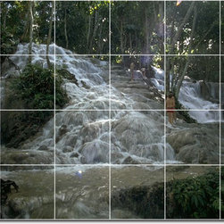Picture-Tiles, LLC - Waterfalls Photo Custom Tile Mural 26 - * MURAL SIZE: 17x25.5 inch tile mural using (24) 4.25x4.25 ceramic tiles-satin finish.