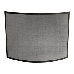 Uniflame - Single Panel Fireplace Screen w Curved Frame - Give your fireplace an attractive, safe boost with our Single Panel Fireplace Screen.  Ultra-portability enhanced by slim profile and lightweight frame.  Elegant curve helps contain rogue embers and unwanted ash.  Stunning black finish makes this the perfect fireside companion.  You won't want to spend another fireside evening without this accessory. * Stylish Screen is Functional and Attractive. Maintains Fireplace Safety. Allows For Ease and Comfort with Fireplace Maintenance. 41 in. W x 31 in. H