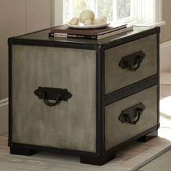 """Steve Silver - Rowan End Table - The Rowan Collection evokes the nostalgic romance of golden-age steam travel, with classic metal fixtures and faux leather accents. The Rowan end table stands 23"""" high, with a 20"""" x 22"""" top and two spacious storage drawers. This attractive piece complements the Rowan chest and trunk. Weathered Gray Finish; Hardwood solids, faux leather and cedar veneers; Casual Styling; Antiqued Elements; Faux leather accents; Two large storage drawers. Dimensions: 22""""L x 20""""W x 23.5""""H"""