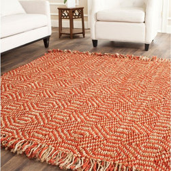 Safavieh - Hand-woven Arts Natural/ Rust Fine Sisal Rug (5' x 8') - Organic sisal is used in this Southwestern hand-woven indoor rug.The casual design has an ivory background with pale rust accents woven in a geometric pattern. Ideal for accents or open areas,the 5' x 8' size is nice for contemporary styles.
