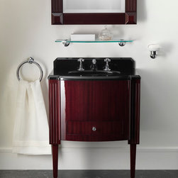 """Vanities, Washstands, Pedestals... - This vanity gives a new twist to the vintage fascination of the small liqueur cabinets of the Forties. Fitted with a large capacity drawer, it can be combined with a white porcelain basin sink or feature an elegant Marquinha black marble top and backsplash with a black ceramic washbasin. The truncated-cone shaped legs accentuate and characterise the linear, uncluttered masculine look of this """"piece"""", with an all-American appeal."""